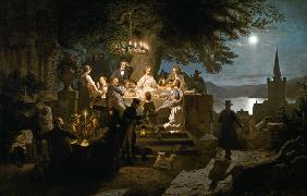 Boettcher, Christian Eduard : Summer Night on the Rhine