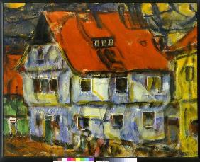 Rohlfs, Christian : Blue house with a red roof...