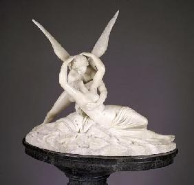 An Italian Alabaster Group Entitled Cupid And Psyche, On Marble Pedestal After Antonio Canova (1757-