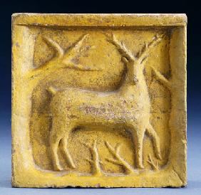 Glazed Earthenware Brick, With A Molded Decoration In The Form Of A Deer And Branches