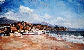 Beach and Mountains, Nerja, 2001(oil on canvas)