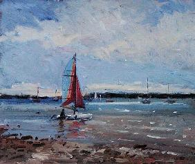 Catamaran, Brittany (oil on panel)
