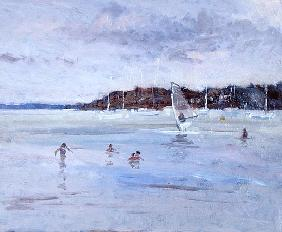 Windsurfer and Bathers (oil on panel)