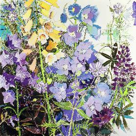 Delphiniums and Foxgloves (pastel on paper)