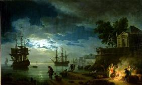 Vernet, Claude Joseph : Night: A Port in the Moonl...