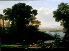 Classical river scene with a view of a town