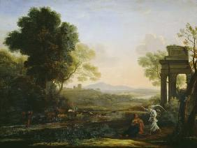 Lorrain, Claude : Countryside with Hagar and...