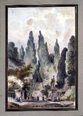 The Gardens of the Villa d'Este at Tivoli (w/c over black chalk on paper)