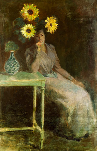 Sedentary Woman Next To A Vase With Sunf Claude Monet As