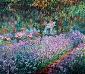 Monet, Claude : Blooming Iris in Monets ga...