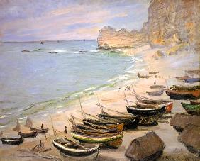 Boats on the beach of Etretat.
