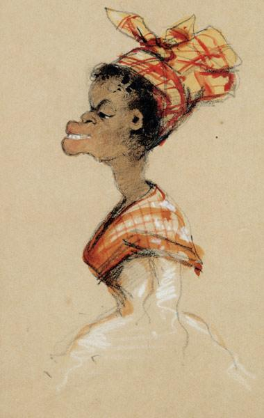 Coloured woman with Madras (caricature)