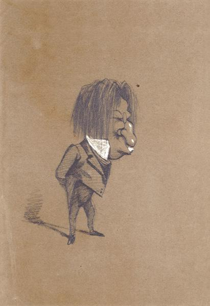 Caricature of Jules Husson (1821-89) 'Champfleury'