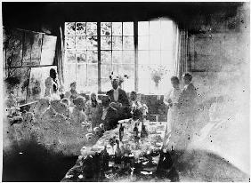 Wedding meal of Suzanne Hoschede and Theodore Earl Butler, 20 July 1892 (b/w print)