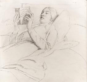 Portrait of Winifred Knights (1899-1947) reading, c.1921 (pencil on paper)