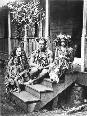 Tahitian family, illustration from ''Tahiti'', published in London, 1882 (b/w photo)