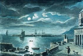 The Harbour and the Cobb, Lyme Regis, Dorset, by Moonlight