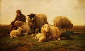 A Shepherd with Sheep and Lambs