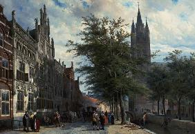 The Gemeenlandshuis and the Old Church, Delft, Summer.