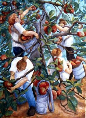 Apple Pickers, 1996 (oil on canvas)