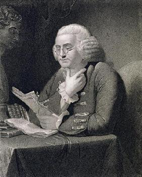 Portrait of Benjamin Franklin, engraved by Thomas B. Welch (1814-74) (engraving)