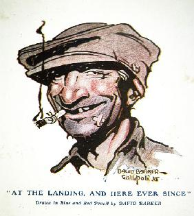At the landing, and here ever since - Gallipoli Campaign of 1915, cartoon from The Anzac Book