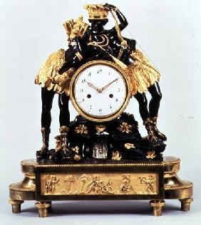 French Directoire ormolu and bronze clock