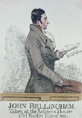 Portrait of John Bellingham (1770-1812) 1812 (colored etching)