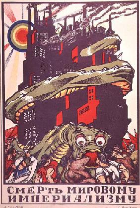 Poster depicting a monster wrapped round a city, from The Russian Revolutionary Poster by V. Polonsk