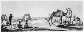 The artist at work in Upper Egypt, from 'Voyage dans la Basse et la Haute Egypte' engraved by Coiny
