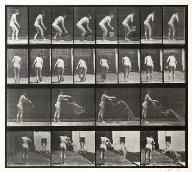 Woman throwing a bucket of water, plate 401 from ''Animal Locomotion'', 1887 (b/w photo)