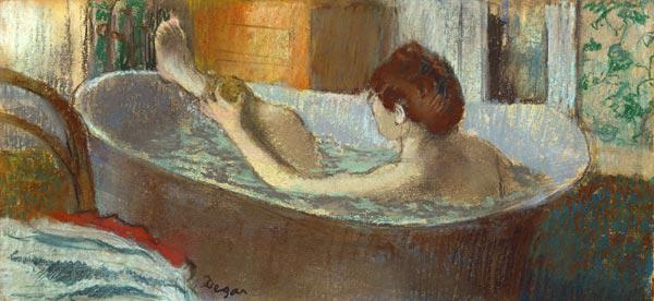 Woman washing her Leg