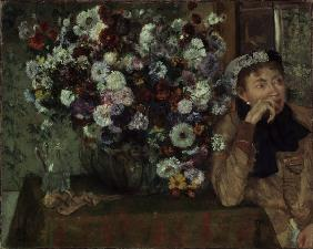 Woman with chrysanthemums