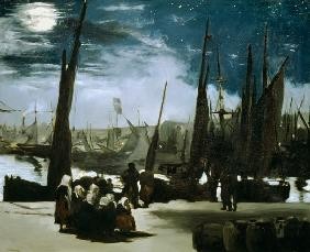 Moonlight on Boulogne Harbour