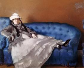 Madame Manet on a Blue Sofa
