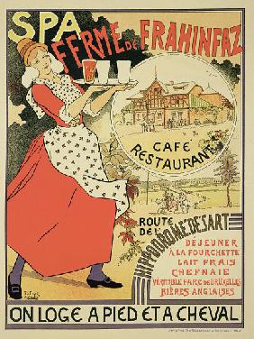 Poster advertising the 'Ferme de Frahinfaz', a cafe and restaurant near Spa, Belgium