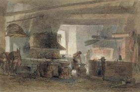 A Smithy at Seville (w/c, pen & ink on paper)
