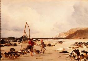 Shrimpers on a beach