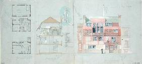 Front Elevation and Section for House and Studio for Frank Miles (1852-91), Tite Street, Chelsea