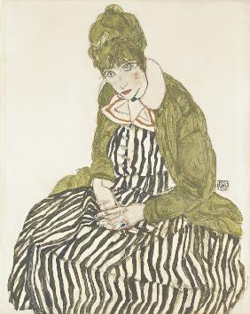 Edith Schiele in Striped Dress, Seated