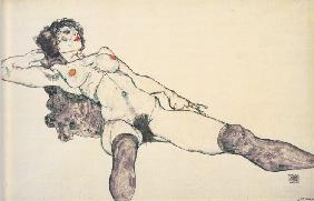 Reclined female nude with spreaded legs