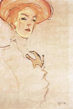 Lady with an orange-coloured hat