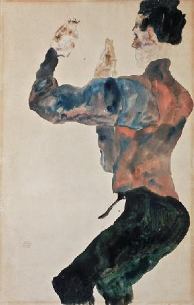 Self-portrait with raised arms, back view