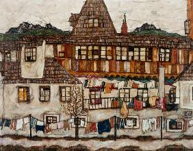 Schiele, Egon : House with drying laundry