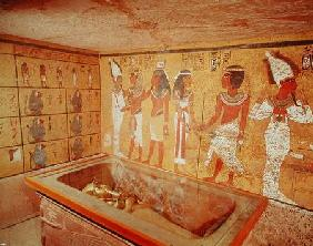 The burial chamber in the Tomb of Tutankhamun, New Kingdom