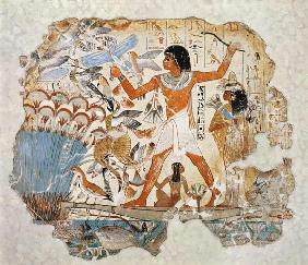 Nebamun hunting in the marshes with his wife an daughter, part of a wall painting from the tomb-chap