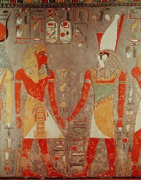 Relief depicting Horemheb (c.1323-1295 BC) before Horus, from his tomb, New Kingdom