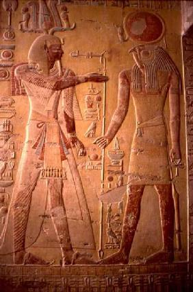 Relief depicting Merneptah (1236-1223 BC) being greeted by Re-Herakhty, from the Tomb of Merneptah,
