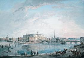 View of Stockholm from the Fersen Terrace (gouache on canvas)