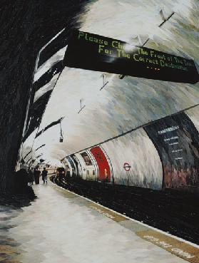 Please Check the front of the Train... 1998 (paper mosaic collage)
